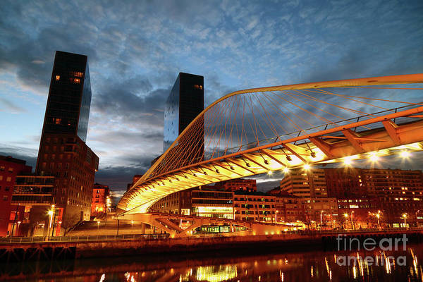Photograph - Zubizuri Or Campo Volantin Bridge At Sunset Bilbao by James Brunker