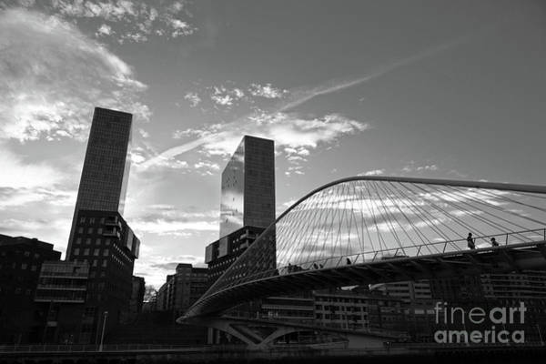 Photograph - Zubizuri Or Campo Volantin Bridge In Monochrome Bilbao by James Brunker