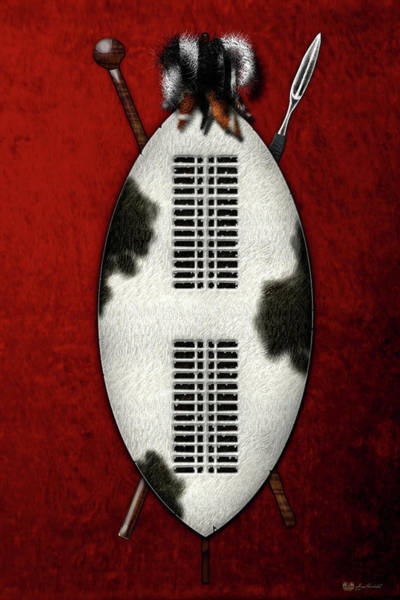 African Tribal Digital Art - Zulu War Shield With Spear And Club On Red Velvet  by Serge Averbukh