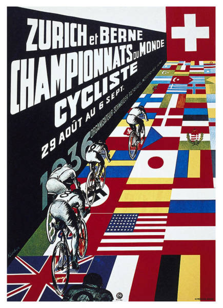 Wall Art - Mixed Media - Zurich At Berne Championnats Du Monde Cycliste - Vintage Advertising Poster by Studio Grafiikka