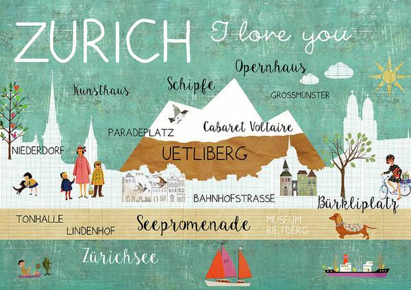 Zurich I Love You Art Print