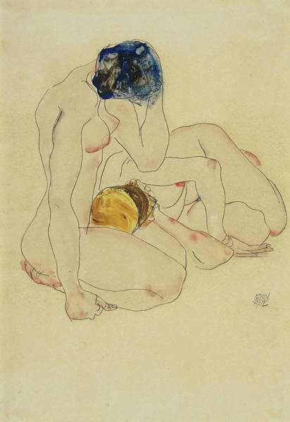 Having Sex Painting -  Zwei Freundinnen - Two Friends by Egon Schiele