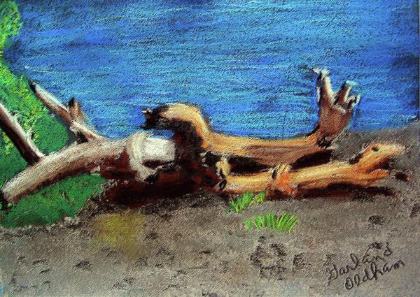 Pastel - 012519 Yellow Stone Lake Shore by Garland Oldham