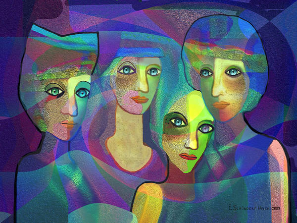 Relief Digital Art -  027  Four Sisters  Blue   by Irmgard Schoendorf Welch