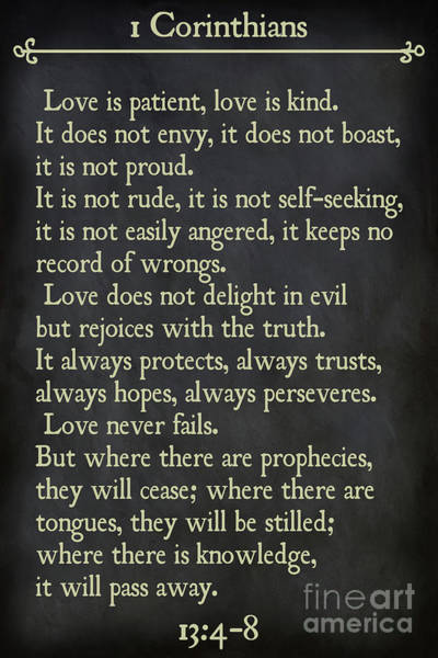 Painting - 1 Corinthians 13 4-8- Inspirational Quotes Wall Art Collection by Mark Lawrence