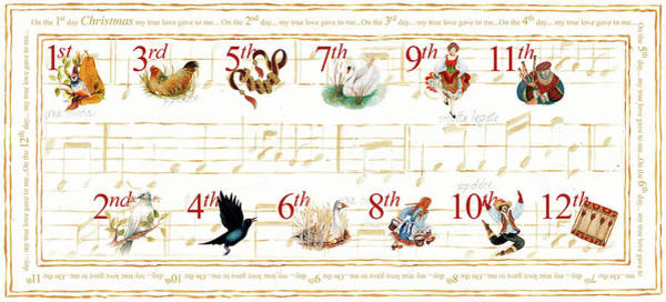 Wall Art - Painting - 12 Days Of Christmas by Janice Gaynor