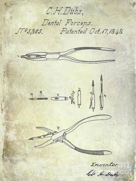 Wall Art - Photograph - 1848 Dental Forceps Patent by Jon Neidert