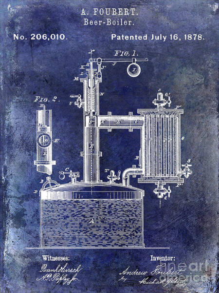 Wall Art - Photograph - 1878 Beer Boiler Patent Blue by Jon Neidert