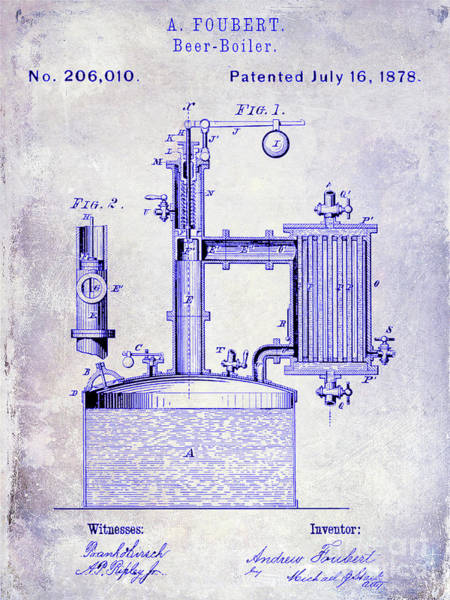 Wall Art - Photograph - 1878 Beer Boiler Patent Blueprint by Jon Neidert