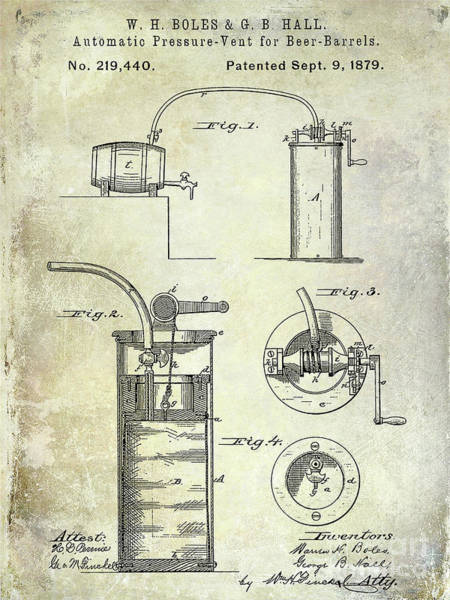 Wall Art - Photograph - 1879 Pressure Vent For Beer Barrels Patent by Jon Neidert