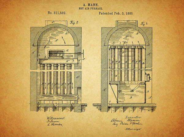Wall Art - Drawing - 1885 Furnace Patent by Dan Sproul