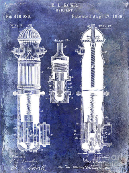 Wall Art - Photograph - 1889 Fire Hydrant Patent Blue by Jon Neidert