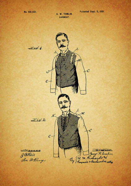 Drawing - 1901 Mens Suit Patent by Dan Sproul