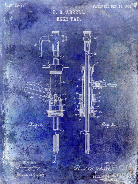 Wall Art - Photograph - 1903 Beer Tap Patent by Jon Neidert