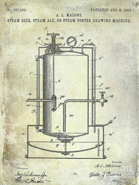 Wall Art - Photograph - 1904 Beer Drawing Machine Patent  by Jon Neidert
