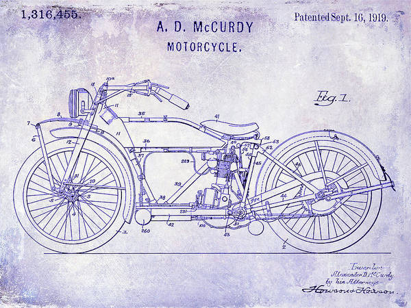 Knucklehead Wall Art - Photograph - 1919 Motorcycle Patent Blueprint by Jon Neidert