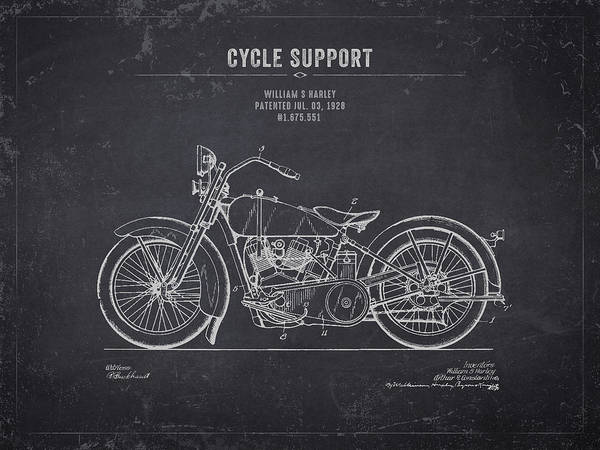 Wall Art - Digital Art - 1928 Harley Davidson Cycle Support - Dark Charcoal Grunge by Aged Pixel