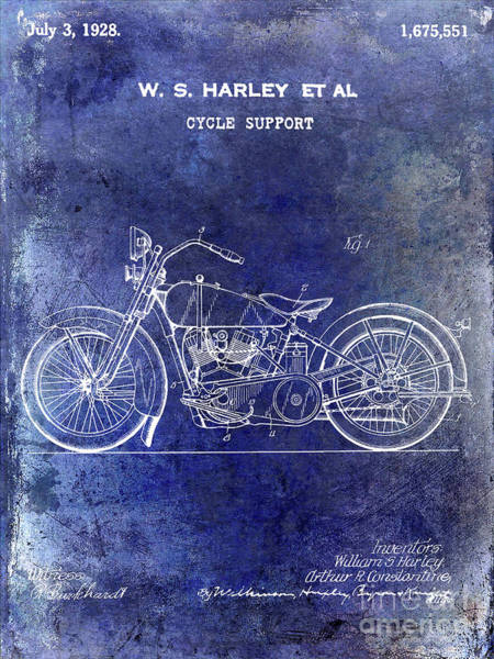 Knucklehead Wall Art - Photograph - 1928 Harley Davidson Motorcycle Patent Blueprint by Jon Neidert