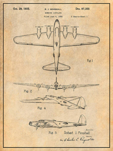 Wall Art - Drawing - 1935 B17 Flying Fortress Antique Paper Patent Print  by Greg Edwards