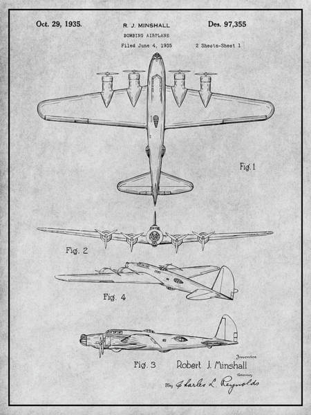 Wall Art - Drawing - 1935 B17 Flying Fortress Gray Patent Print by Greg Edwards