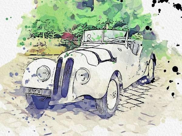 Painting - 1937 Bmw 328 Roadster 3 Watercolor By Ahmet Asar by Ahmet Asar