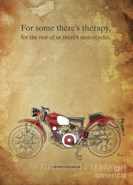 Wall Art - Drawing - 1950 Moto Guzzi Falcone,original Artwork. Motorcycle Quote by Drawspots Illustrations