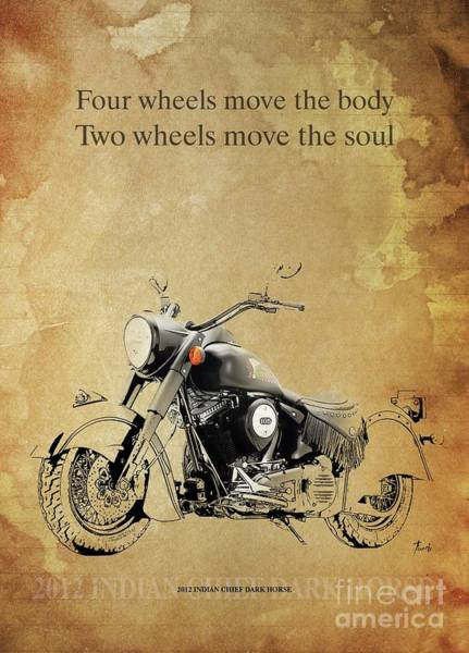 Wall Art - Drawing - 2012 Indian Chief Dark Horse, Original Artwork. Motorcycle Quote  by Drawspots Illustrations