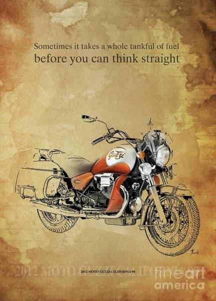 Wall Art - Drawing - 2012 Moto Guzzi California 90, Original Artwork. Motorcycle Quote by Drawspots Illustrations