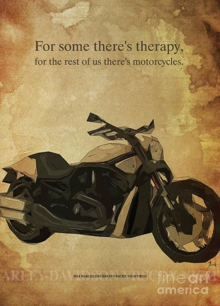 Wall Art - Drawing - 2014 Harley-davidson Vrscdx Night Rod, Original Artwork. Motorcycle Quote by Drawspots Illustrations