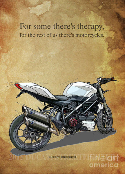 Wall Art - Drawing - 2015 Ducati Streetfighter,original Artwork. Motorcycle Quote by Drawspots Illustrations
