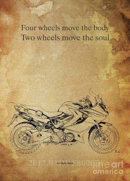 Wall Art - Drawing - 2017 Bmw F800gt, Original Artwork. Motorcycle Quote by Drawspots Illustrations