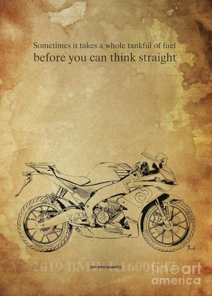 Wall Art - Drawing - 2018 Aprilia Rs125,original Artwork. Motorcycle Quote by Drawspots Illustrations