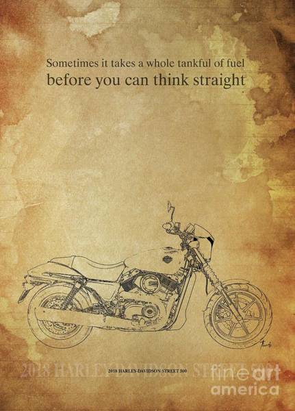 Wall Art - Drawing - 2018 Harley-davidson Street 500, Original Artwork. Motorcycle Quote by Drawspots Illustrations