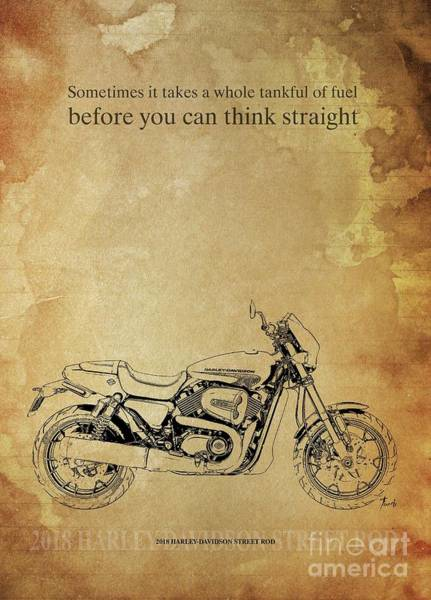 Wall Art - Drawing - 2018 Harley-davidson Street Rod, Original Artwork. Motorcycle Quote by Drawspots Illustrations