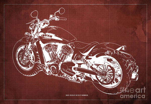 Wall Art - Drawing - 2018 Indian Scout Bobber Blueprint, Vintage Background by Drawspots Illustrations