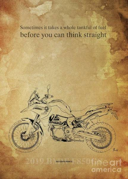 Wall Art - Drawing - 2019 Bmw F850gs,original Artwork. Motorcycle Quote by Drawspots Illustrations