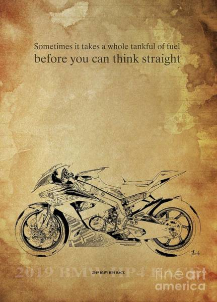 Wall Art - Drawing - 2019 Bmw S1000rr, Original Artwork. Motorcycle Quote  by Drawspots Illustrations
