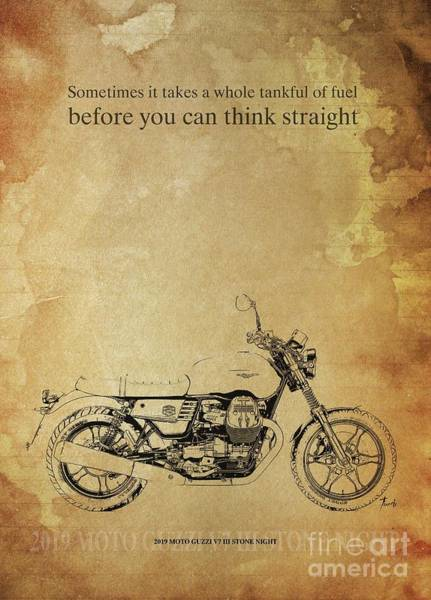 Wall Art - Drawing - 2019 Moto Guzzi V7 IIi Stone Night, Original Artwork. Motorcycle Quote by Drawspots Illustrations