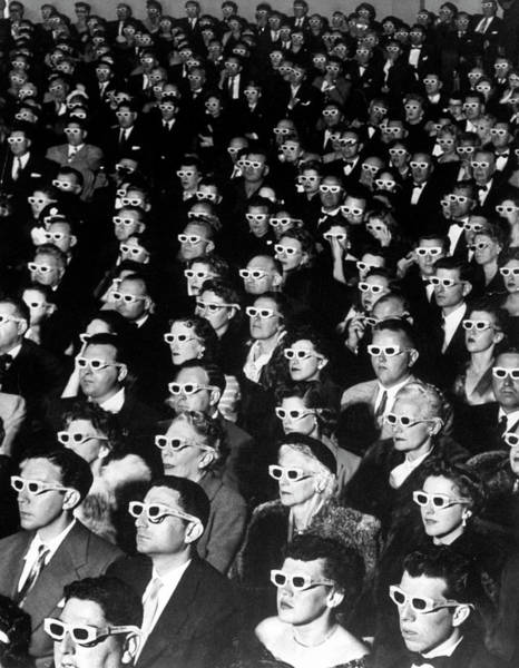 Spectator Photograph - 3-d Movie Viewers. Formally-attired Audi by J. R. Eyerman