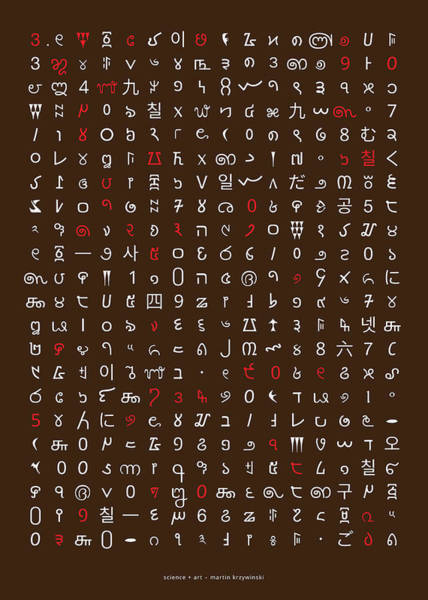 Wall Art - Digital Art - 351 Digits Of Pi In 54 Languages by Martin Krzywinski