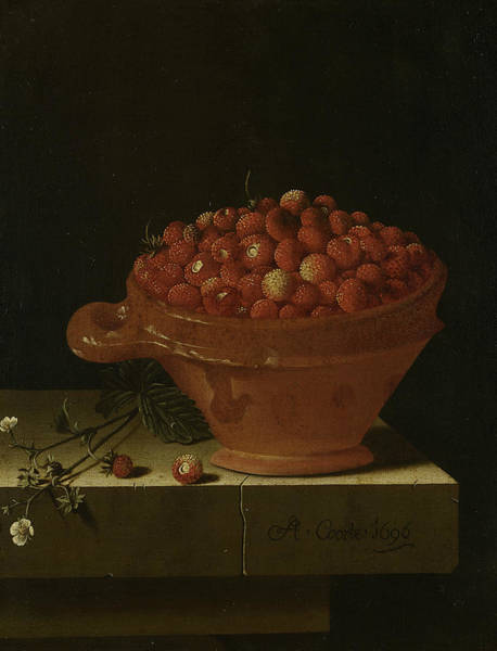 Painting - A Bowl Of Strawberries On A Stone Plinth by Adriaen Coorte