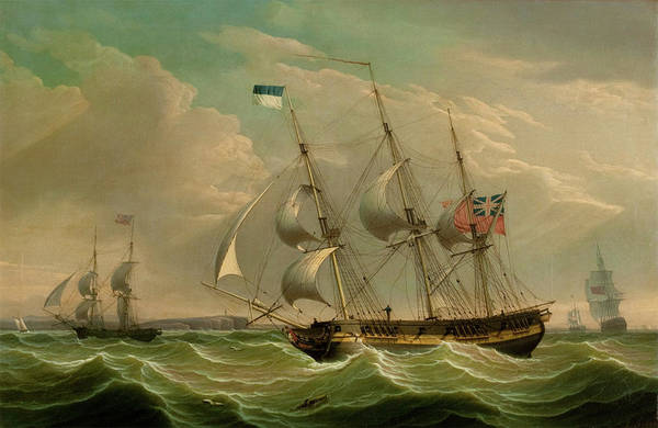 Wall Art - Painting - A British Armed Sloop And Auxiliary Brig by Robert Salmon
