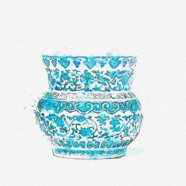 Painting - A Fine Blue And White  Floral Scroll Deep Bowl Watercolor By Ahmet Asar by Ahmet Asar