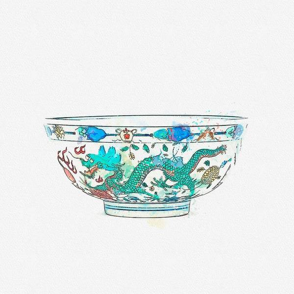 Painting - A Fine Wucai  Dragon And Phoenix Bowl Watercolor By Ahmet Asar by Ahmet Asar