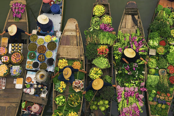 Hat Photograph - A Floating Market On A Canal In by Mint Images - Art Wolfe