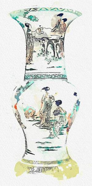 Painting - A Gilt-bronze And Cloisonne Enamel Gu-shaped Vase, Ming Dynasty, 16th Century Watercolor By Ahmet As by Celestial Images