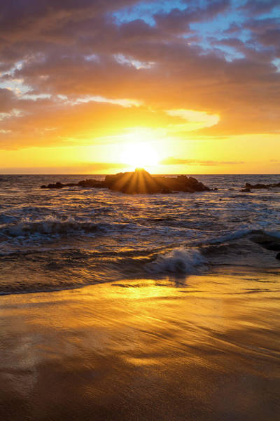 Wall Art - Photograph - A Golden Sunset At Ulua Beach With Wave by Jenna Szerlag