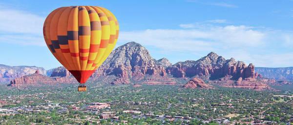 Wicker Basket Digital Art - A Hot Air Balloon Soars Above Sedona, Arizona by Derrick Neill