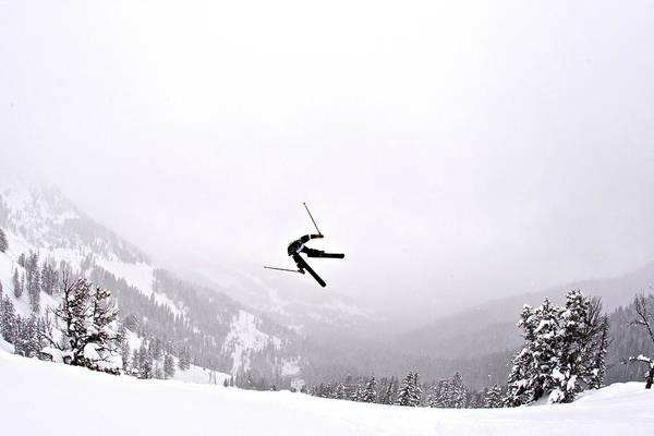 Photograph - A Man Sideways In The Air On Teton by Derek Diluzio