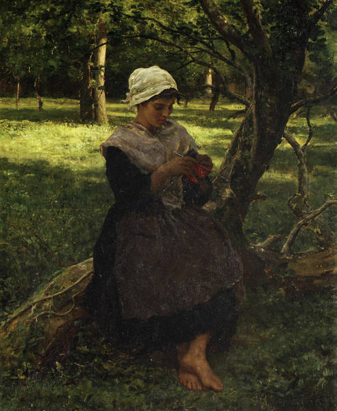 Sewer Painting - A Peasant Girl Knitting by Jules Breton
